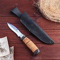 Нож охотничий Н21, ст. ЭИ107, рукоять текстолит, береста, 24,5 см, фото 1