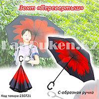 Чудо зонт Перевертыш двухслойный с системой антиветра и с ручкой крючком черный с красным цветком