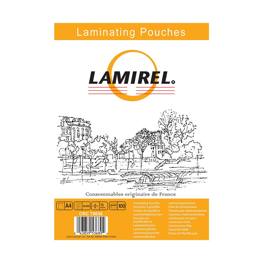 Пленка для ламинирования, Lamirel, LA-78656, А4, 75мкм, 100 шт.