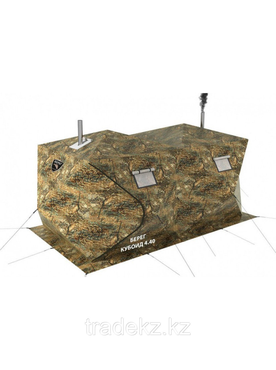 Палатка всесезонная Берег Кубоид 4.40 двухслойная, непромокаемый пол из ПВХ размер 4,4 x 2.2 x 1.9 м