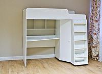 Кровать чердак детская с рабочей зоной TOMIX ATTIC , белый