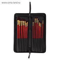 Набор кистей, нейлон, 15 шт., с длинными ручками, в пенале-подставке
