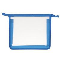 Папка, пластиковая, А4, молния сверху, 'Оникс', ПТ- 750 (шк), 'Офис', прозрачная, окантовка синяя