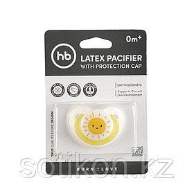 Соска-пустышка латекс ортодонт с колпачком 0+ grey Happy Baby 13022