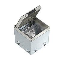 Лючок UDHome2 укомплектованный 2 розетки 2К+З (без выемки) 140х140х110 мм (нержавеющая сталь), фото 1