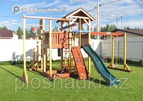 Детская площадка Савушка-СЕМЕЙНАЯ, игровая башня, горка, швед.стенка, рукоход, кольца, 2 турника, брусья.