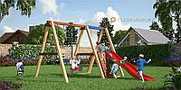Детская площадка Савушка, качели, игровая башня, сетка, альпинистская стенка, фото 1