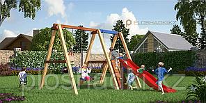 Детская площадка Савушка 1, качели, игровая башня, сетка, альпинистская стенка