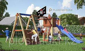 Детская площадка Савушка 3, с альпинистской стенкой, игровой башней, качелями, кольцами