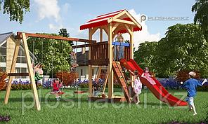 Детская площадка Савушка 5, с игровой башней, качелями, канатом, песочнице