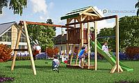 Детская площадка Савушка 6, с качелями, игровой башней, турником, шведской стенкой, песочницей, фото 1