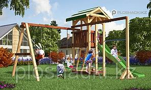 Детская площадка Савушка 6, с качелями, игровой башней, турником, шведской стенкой, песочницей