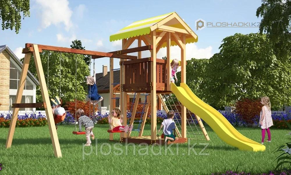 Детская площадка Савушка 7, с игровой башней, шведской стенкой, гимнастическими кольцами, горкой