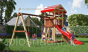 Детская площадка Савушка 8, с игровой башней, горкой, качелями, песочницей, шведской стенкой