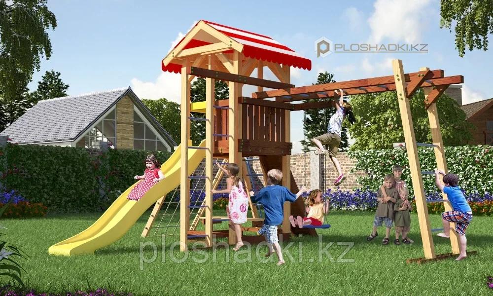 Детская площадка Савушка 10, с рукоходом, шведской стенкой, сеткой лазалкой, качелями, игровой башней