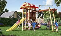 Детская площадка Савушка 10, с рукоходом, шведской стенкой, сеткой лазалкой, качелями, игровой башней, фото 1