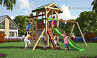 Детская площадка Савушка 11, с игровой башней, песочницей, альпинистской сеткой, двойной шведской стенкой, фото 1