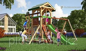 Детская площадка Савушка 11, с игровой башней, песочницей, альпинистской сеткой, двойной шведской стенкой