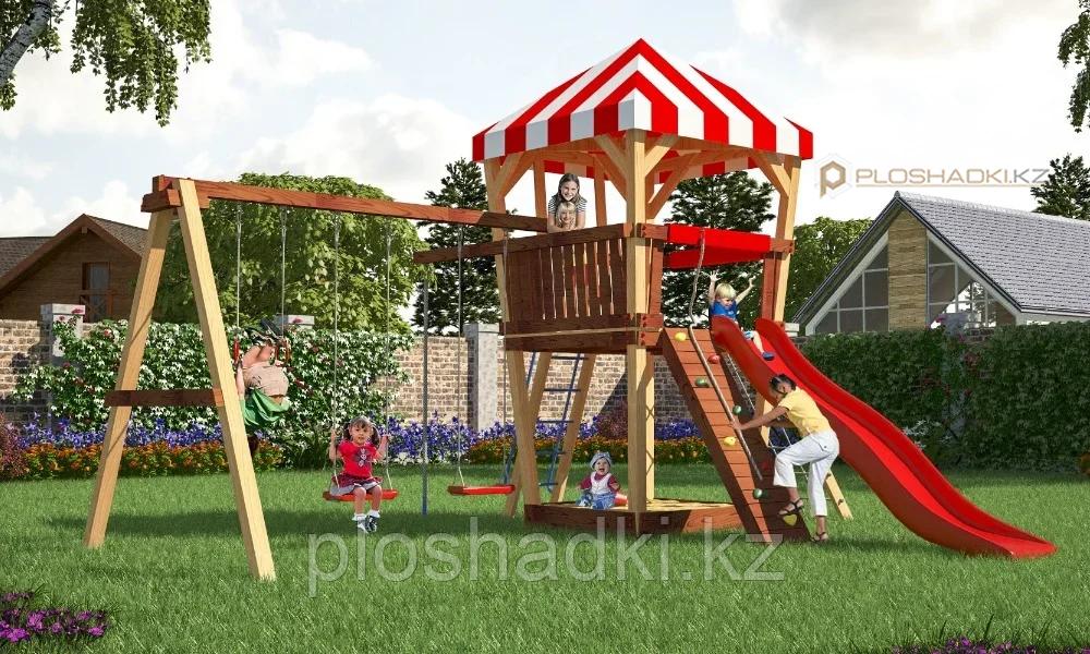 Детская площадка Савушка 12 с большой игровой башней, горкой, качелями, песочницей