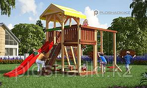 Детская площадка Савушка 14 с игровой башней, качелями, альпинистской и шведской стенкой, с горкой
