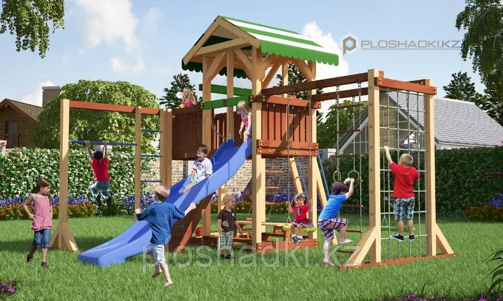 Детская площадка Савушка 15 с игровой башней, шведской и альпинистской стенкой, с веревочной лестницей, горкой