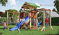 Детская площадка Савушка 15 с игровой башней, шведской и альпинистской стенкой, с веревочной лестницей, горкой, фото 1
