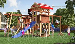 Детская площадка Савушка 17 с двумя игровыми башнями, песочницей, качелями, рукоходом, балкой с канатом
