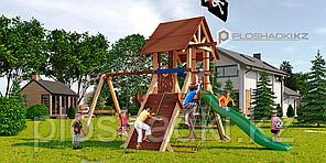 Детская площадка Савушка LUX-2, игровая башня люкс, широкая альпинистская горка, шторм трап, штурвал, крыша.