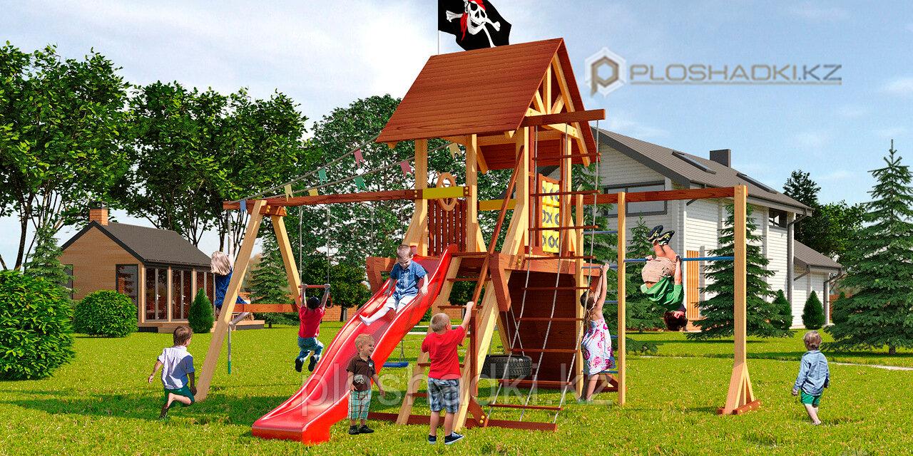 Детская площадка Савушка LUX-3, турник, игровая площадка люкс, швед.стенка, качели, крестики-нолики, крыша.