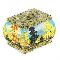 "Шкатулка с рисунком из каменной крошки ""Осень"" 10х7,5х9 см"