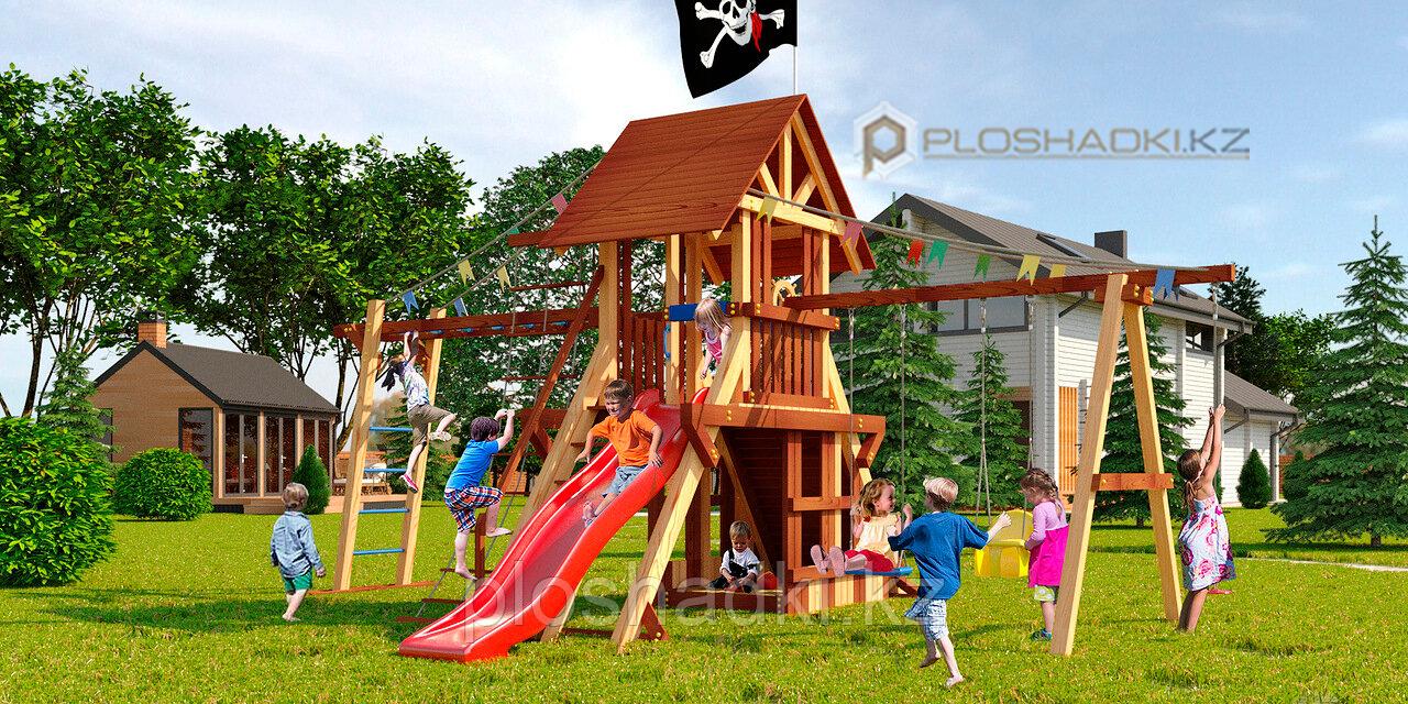 Детская площадка Савушка LUX-4, горка, альпинистская стенка, рукоход, песочница, игровой домик, гимнас.кольца.