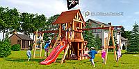 Детская площадка Савушка LUX-4, горка, альпинистская стенка, рукоход, песочница, игровой домик, гимнас.кольца., фото 1
