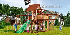 Детская площадка Савушка LUX-6, игровая башня люкс, горка, качели для двоих, капитанская площадка, песочница.