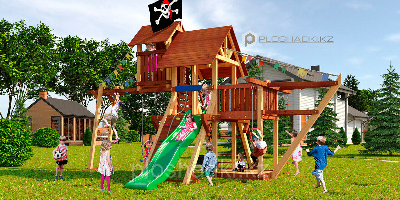 """Детская площадка Савушка LUX-7, рукоход, игровая башня, игровой """"чердачок"""", песочница, веревочная лестница."""