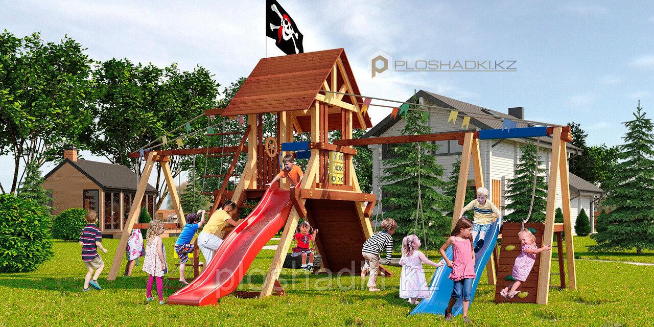 Детская площадка Савушка LUX-8, игровая башня (2), горка (2), качели гнездо, качели люкс, альпин. стенка (2).