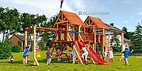 Детская площадка Савушка LUX-9, игровая башня (2), горка, качели(2), деревянная крыша, сетка-лазалка., фото 1