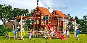Детская площадка Савушка LUX-9, игровая башня (2), горка, качели(2), деревянная крыша, сетка-лазалка.