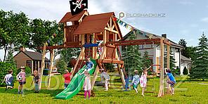 """Детская площадка Савушка LUX-10, игровая башня люкс, игровой """"чердачок"""", качели (2), рукоход, альпинис. сетка."""