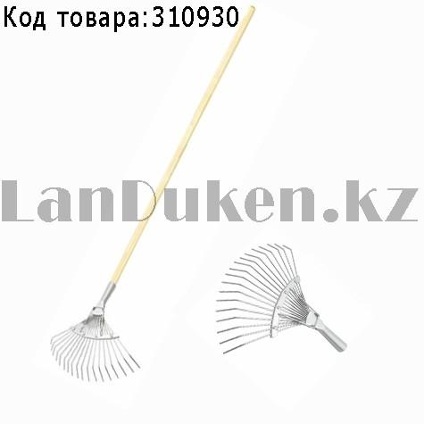 Грабли веерные 18 зубьев с черенком оцинкованные круглый зуб СИБРТЕХ 61781 (002)