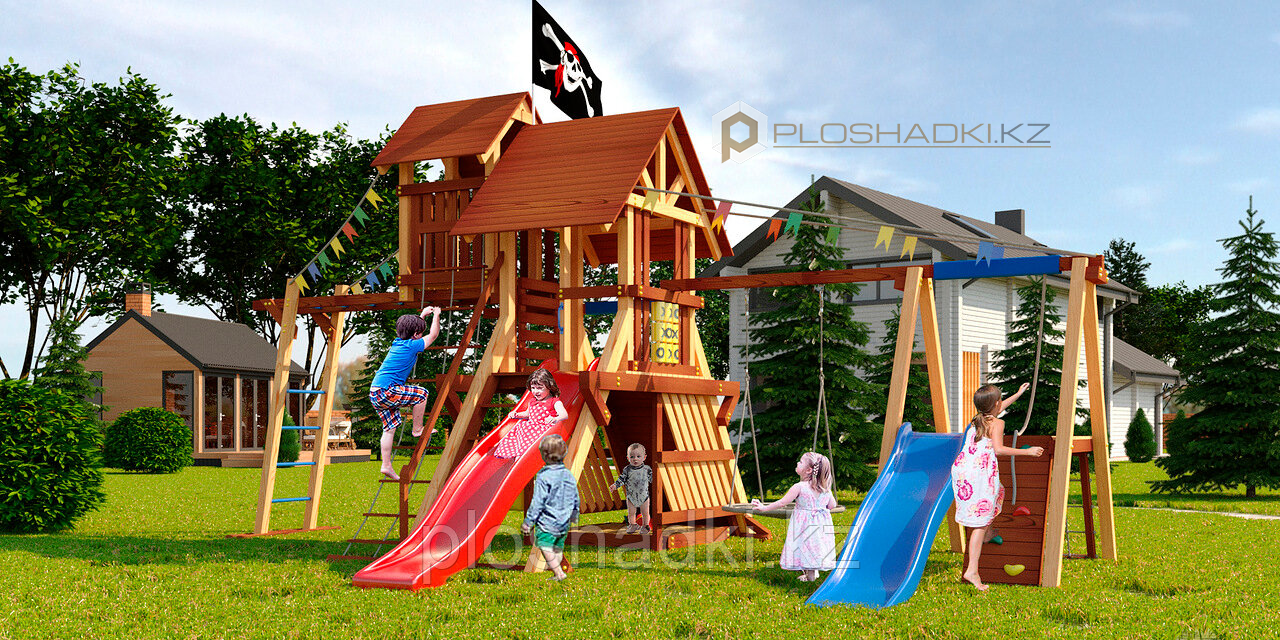 """Детская площадка Савушка LUX-11, рукоход, 2 горки, игровая башня, игровой """"чердачок"""", 2 качели, шторм-трап."""
