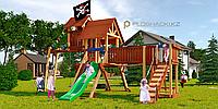 Детская площадка Савушка LUX-12, рукоход, горка, канат, 2 качели, столик с лавками, подвесной мостик, флаг., фото 1