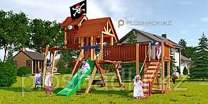 Детская площадка Савушка LUX-12, рукоход, горка, канат, 2 качели, столик с лавками, подвесной мостик, флаг.