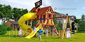 """Детская площадка Савушка LUX-14, рукоход, игровой """"чердачок"""", 3 качели, боксёрская груша, альпин.сетка."""
