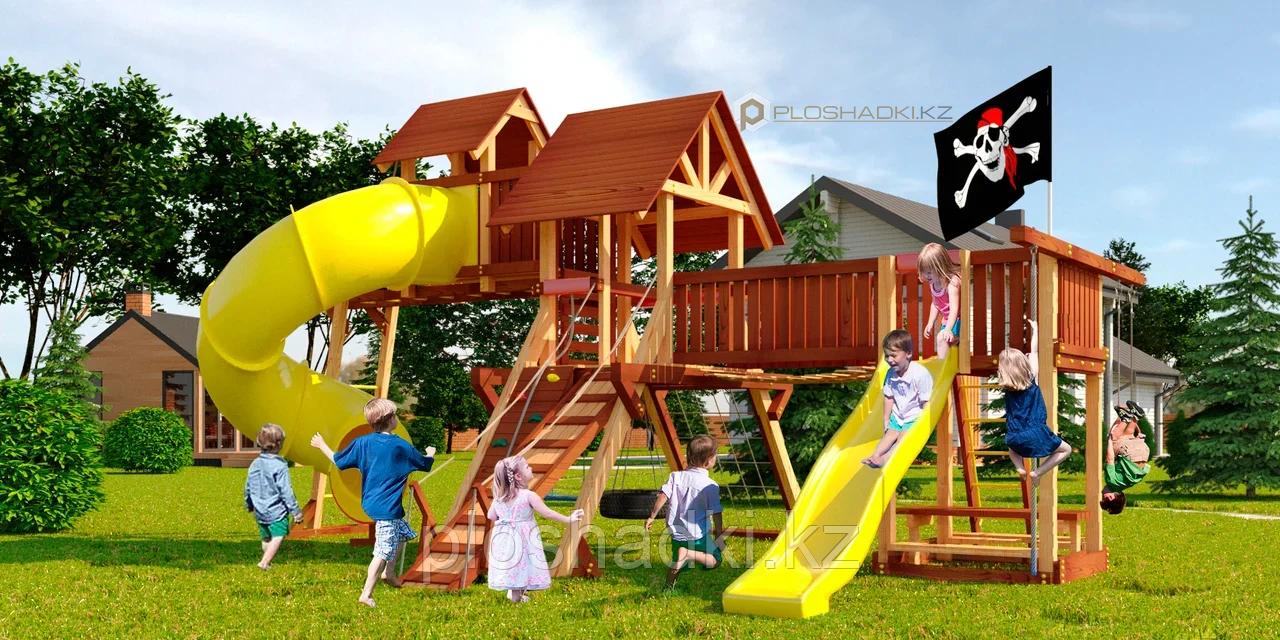 Детская площадка Савушка LUX-15, кольца-трапеция, канат, альпинис.сетка, игровая башня, горка-труба.