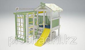 Детская площадка Савушка BABY(club) -1, игровой домик, сетка-лазалка, балкон, горка, турник,бинокль, штурвал.