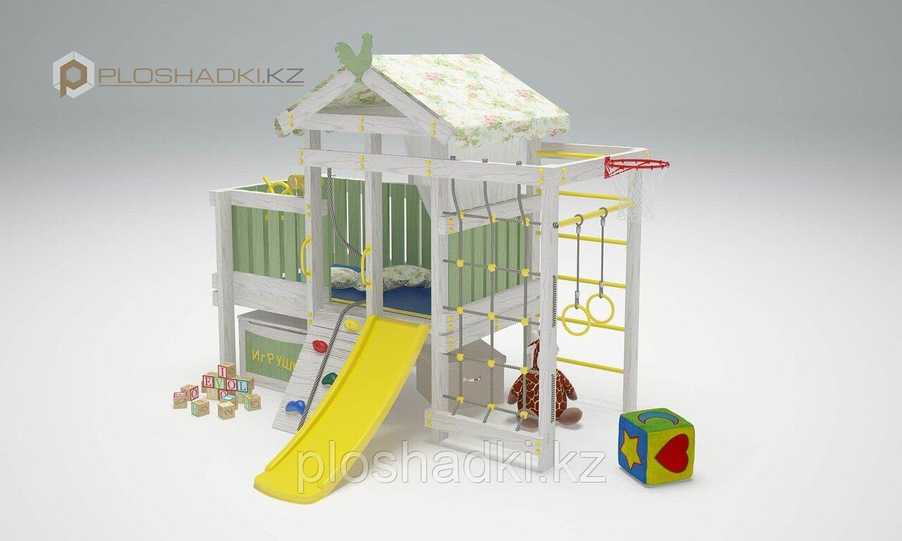 Детская площадка Савушка BABY(club) -3, скаладром с канатом, сетка лазалка, балкон, турник, штурвал.