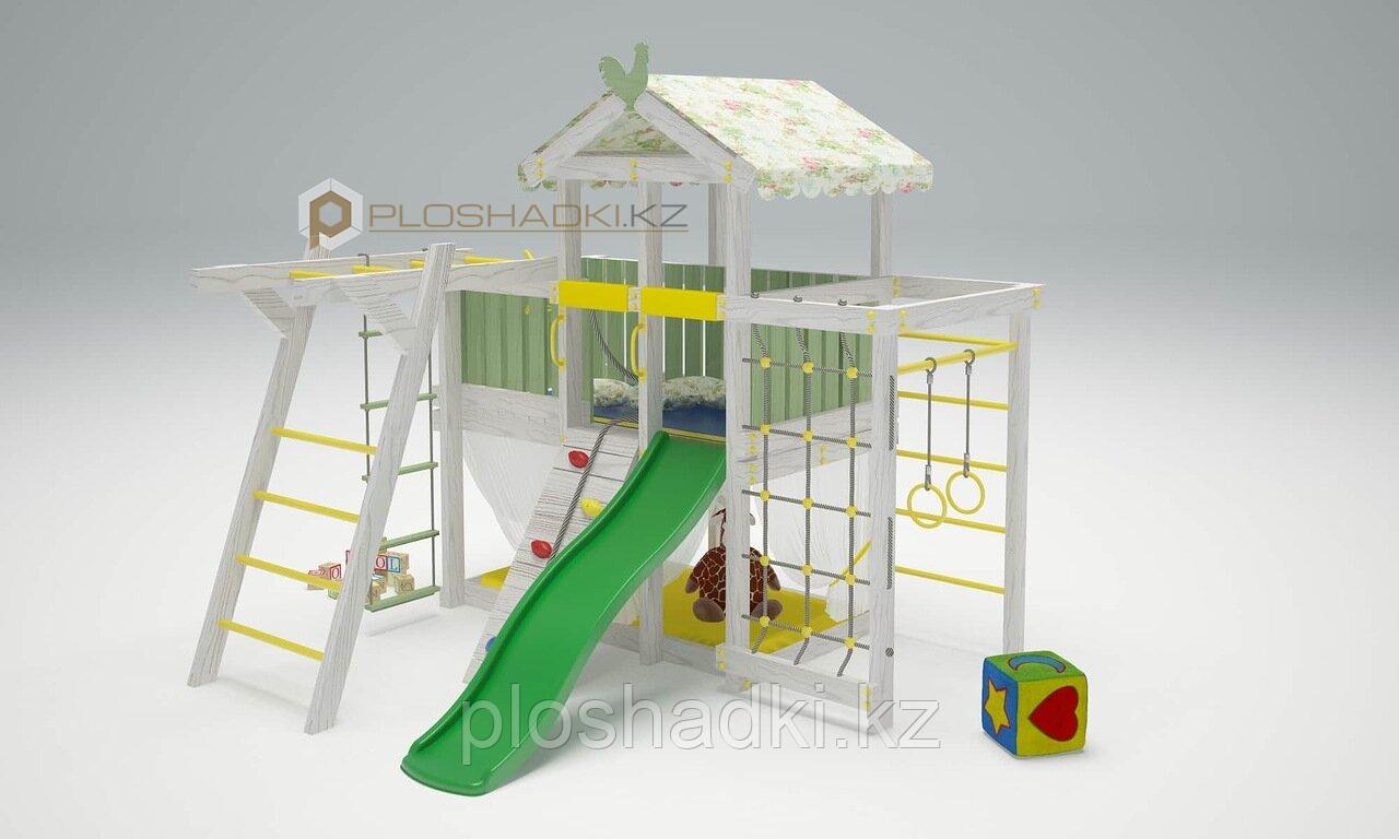 Детская площадка Савушка BABY-4, сетка-лазалка, рукоход, шведская стенка, игровой домик с крышей и балдахином.
