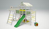 Детская площадка Савушка BABY-4, сетка-лазалка, рукоход, шведская стенка, игровой домик с крышей и балдахином., фото 1