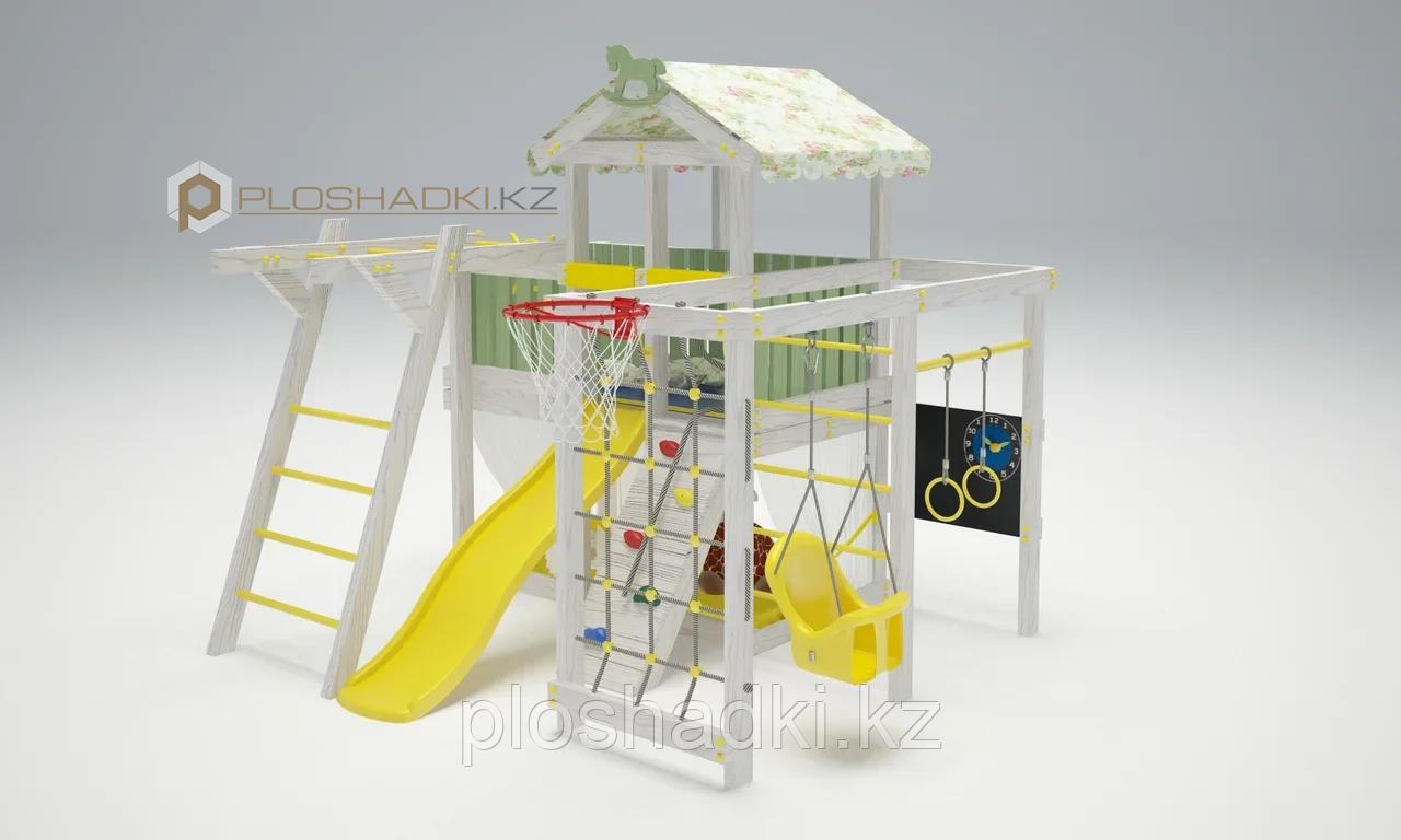 Детская площадка Савушка BABY-5, игровой домик с крышей и балдахином, горка, качели, швед. стенка, турник.