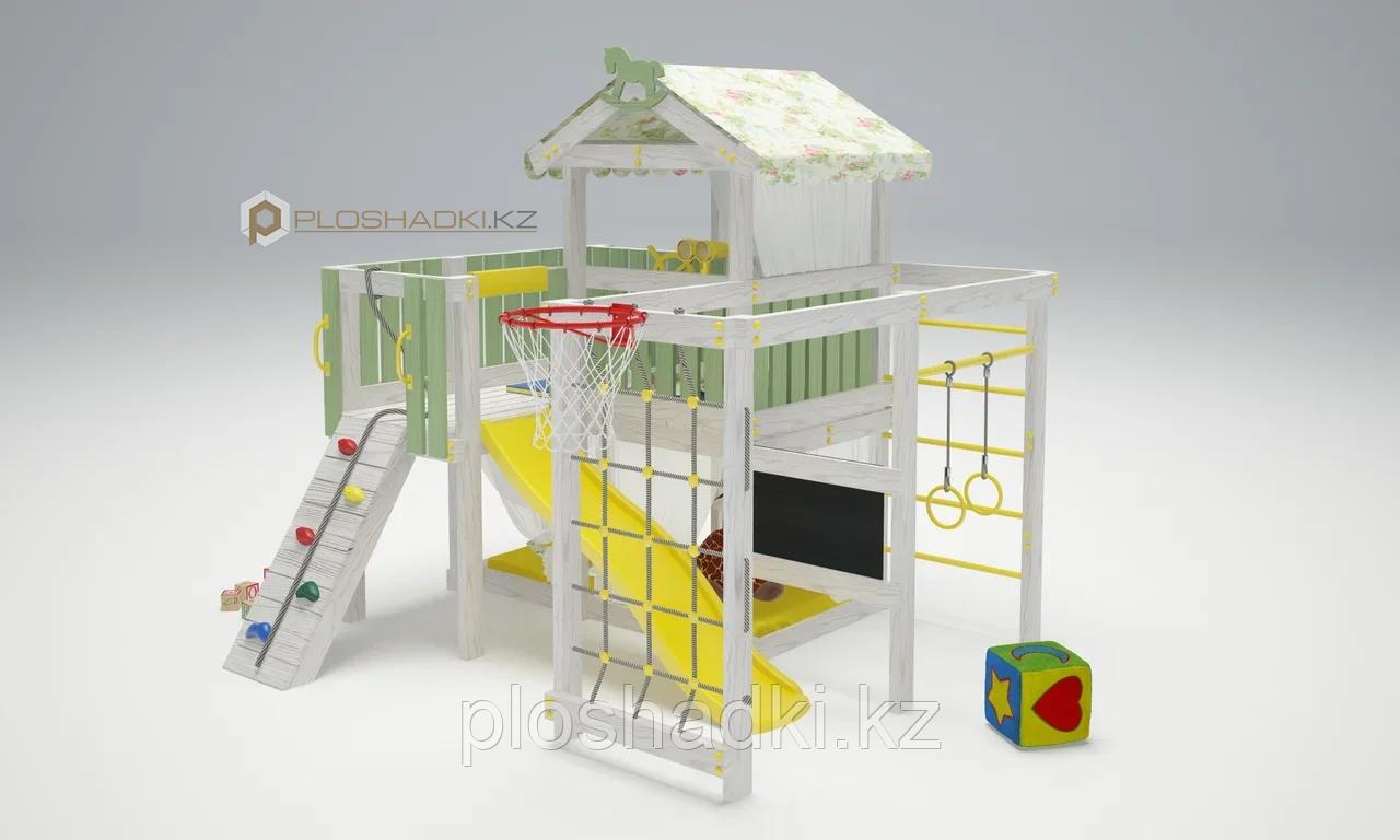 Детская площадка Савушка BABY-8, меловая доска, горка, игровой доимк с крышей, игровая зона, балкон.